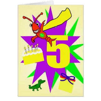 Whimsical Boy's 5th Birthday Card