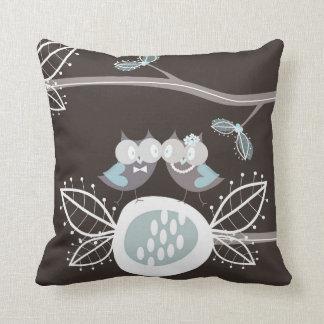 Whimsical Bride Groom Blue Wedding Owls Cushion Pillow