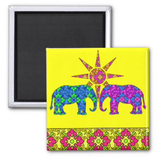 Whimsical Bright Colorful Paisley Elephants Yellow Magnet