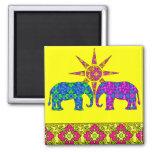 Whimsical Bright Colourful Paisley Elephants