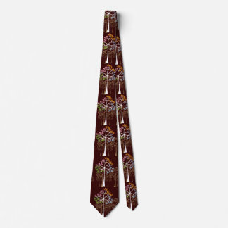 Whimsical Brown Four Seasons Colorful Trees Tie