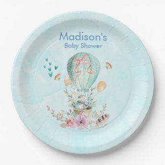 Whimsical Bunny Riding in a Balloon Baby Shower Paper Plate