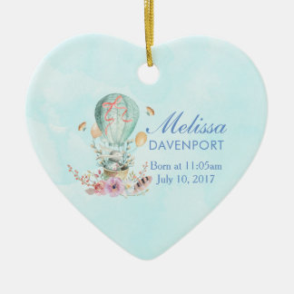 Whimsical Bunny Riding in a Hot Air Balloon Baby Ceramic Ornament