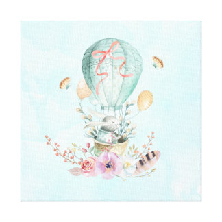 Whimsical Bunny Riding in a Hot Air Balloon Canvas Print