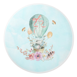Whimsical Bunny Riding in a Hot Air Balloon Ceramic Knob