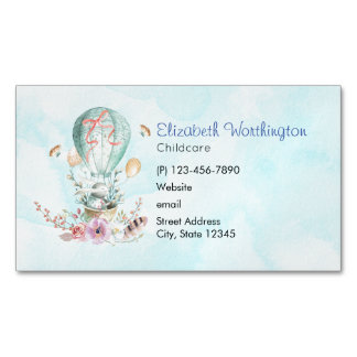 Whimsical Bunny Riding in a Hot Air Balloon Magnetic Business Card