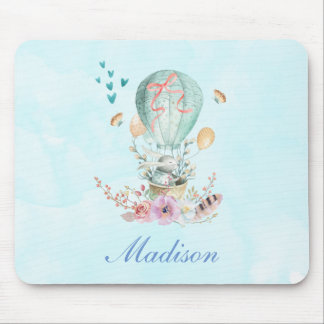 Whimsical Bunny Riding in a Hot Air Balloon Mouse Pad