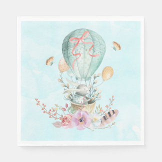 Whimsical Bunny Riding in a Hot Air Balloon Paper Napkin