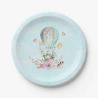 Whimsical Bunny Riding in a Hot Air Balloon Paper Plate