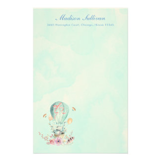 Whimsical Bunny Riding in a Hot Air Balloon Stationery