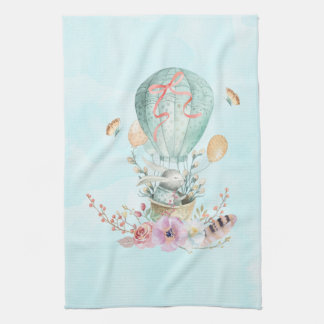Whimsical Bunny Riding in a Hot Air Balloon Tea Towel