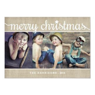 Whimsical Burlap Rustic Merry Christmas Photo 13 Cm X 18 Cm Invitation Card