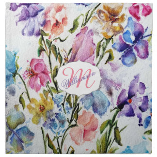 WHIMSICAL BUTTERFLIES AND FLOWERS NAPKIN