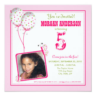 Whimsical Butterflies Birthday Party Invite: pink 13 Cm X 13 Cm Square Invitation Card