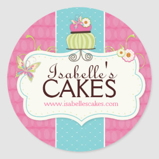 Whimsical Cake Labels Round Sticker