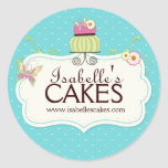 Whimsical Cake Labels Round Stickers