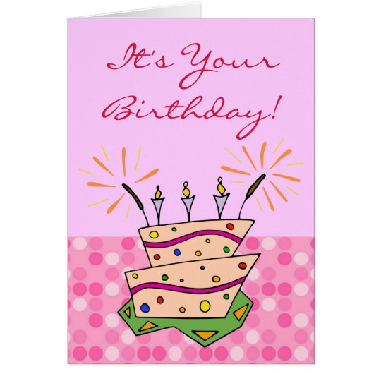 Whimsical Cake Sparklers Candles Happy Birthday Card