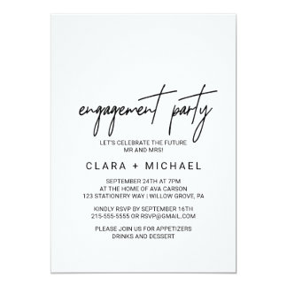 Whimsical Calligraphy Engagement Party Card
