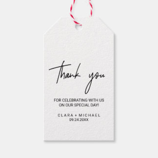 Whimsical Calligraphy Thank You Favor Gift Tags