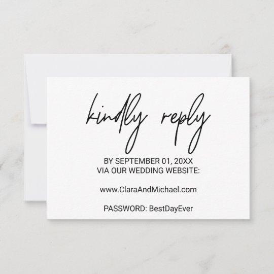 whimsical calligraphy wedding website rsvp card  zazzle