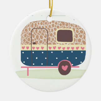 Whimsical Camp Trailer Ceramic Ornament