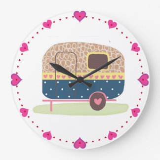 Whimsical Camp Trailer Large Clock