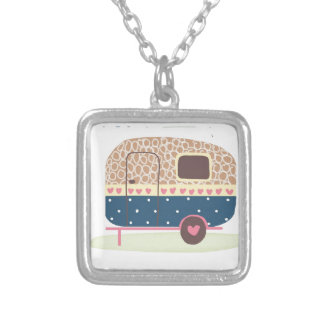 Whimsical Camp Trailer Silver Plated Necklace