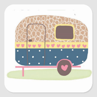 Whimsical Camp Trailer Square Sticker