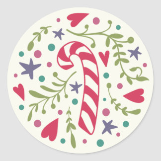 Whimsical Candy Cane Holiday Stickers