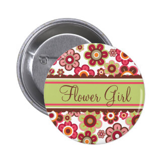 Whimsical Candy Daisies Flower Girl Wedding Button