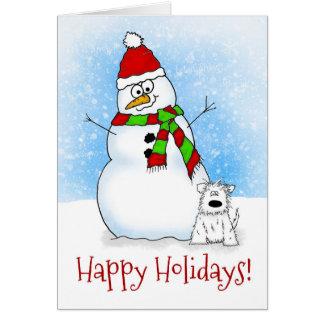 Whimsical Cartoon Snowman Happy Holidays Card