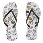 Whimsical Cat Faces Pattern Thongs