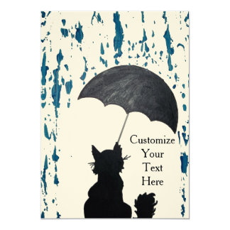 Whimsical Cat In the Rain Card