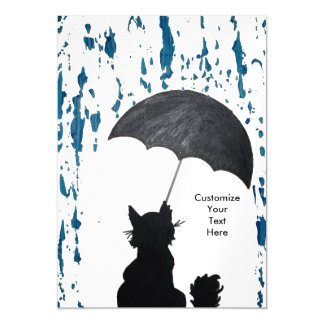 Whimsical Cat In the Rain Magnetic Card