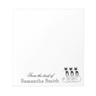 Whimsical cat PERSONALIZE Notepad