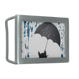 Whimsical Cat under Umbrella Belt Buckle