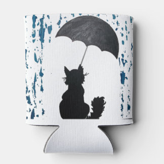 Whimsical Cat under Umbrella Can Cooler