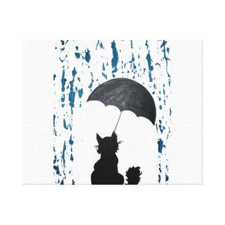 Whimsical Cat under Umbrella Canvas Print