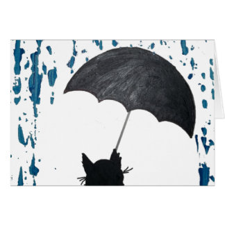 Whimsical Cat under Umbrella Card