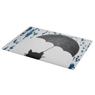 Whimsical Cat under Umbrella Cutting Board