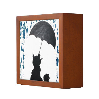 Whimsical Cat under Umbrella Desk Organiser