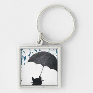 Whimsical Cat under Umbrella Key Ring