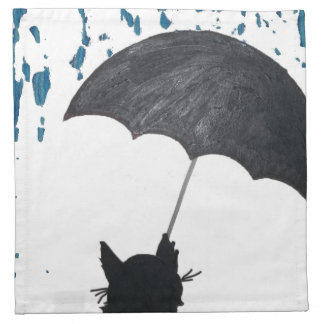 Whimsical Cat under Umbrella Napkin