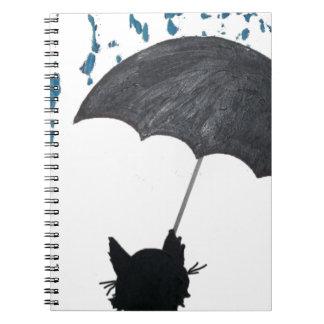 Whimsical Cat under Umbrella Notebooks