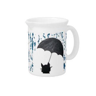 Whimsical Cat under Umbrella Pitcher