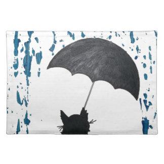 Whimsical Cat under Umbrella Placemat