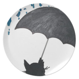Whimsical Cat under Umbrella Plate