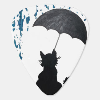 Whimsical Cat under Umbrella Plectrum