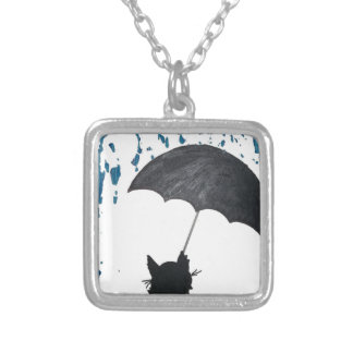 Whimsical Cat under Umbrella Silver Plated Necklace