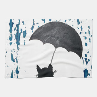Whimsical Cat under Umbrella Tea Towel